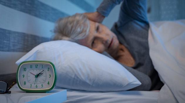 senior woman can't sleep