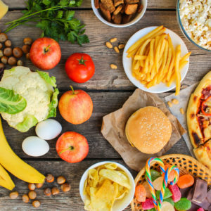 healthy food and fast food